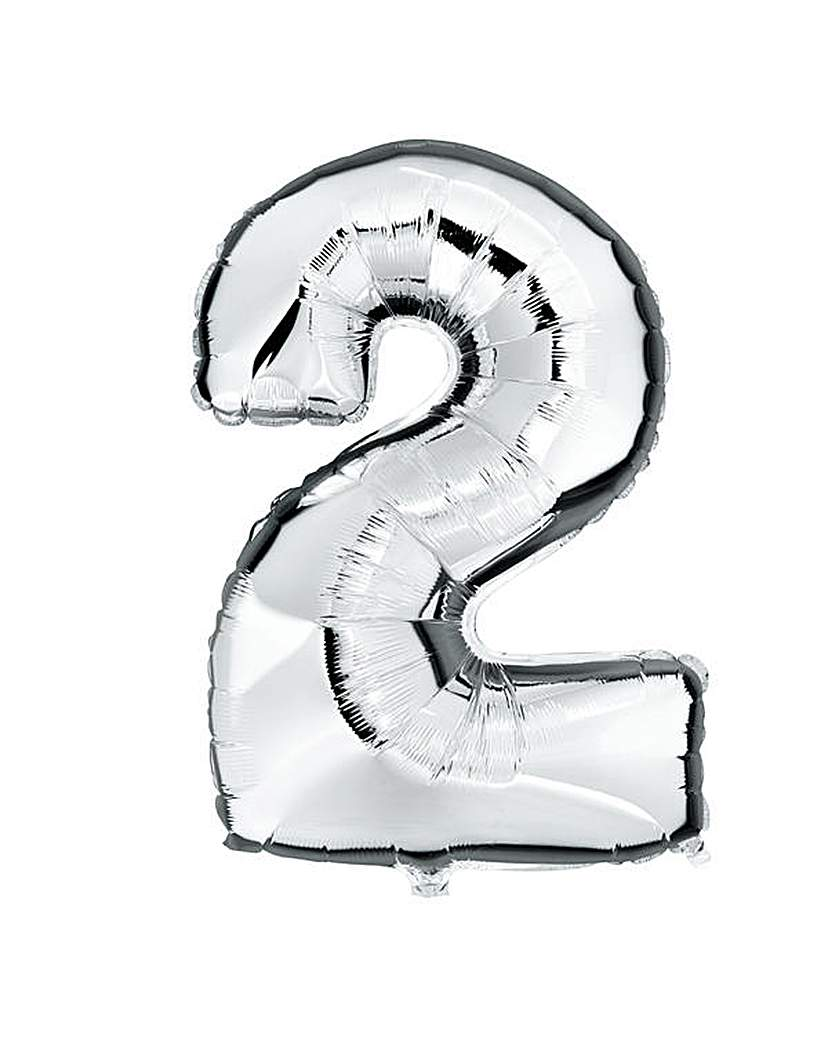 100cm Numeral Balloon Silver Number 2