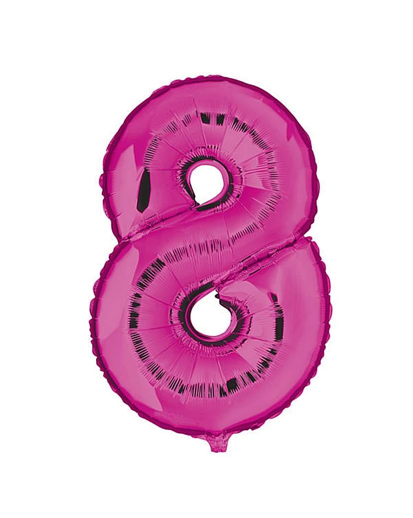 100cm Numeral Balloon Fuchsia Number 8