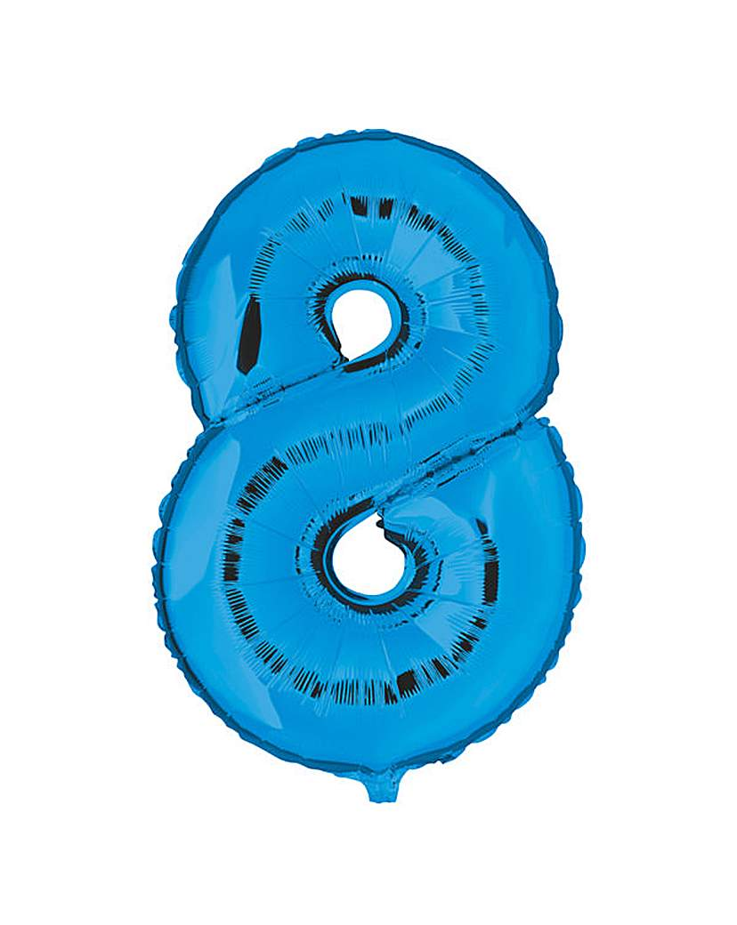 Image of 100cm Numeral Balloon Blue Number 8