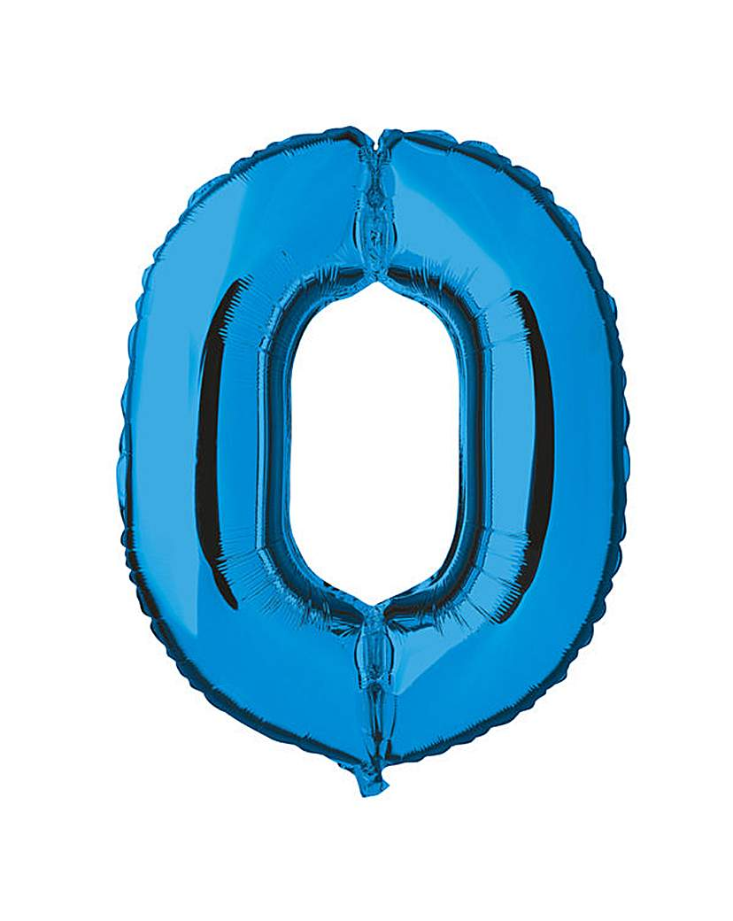 Image of 100cm Numeral Balloon Blue Number 0