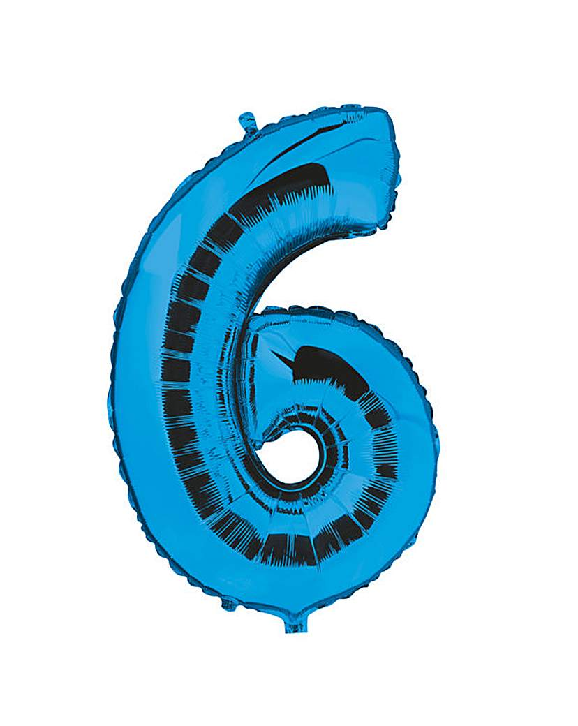 Image of 100cm Numeral Balloon Blue Number 6