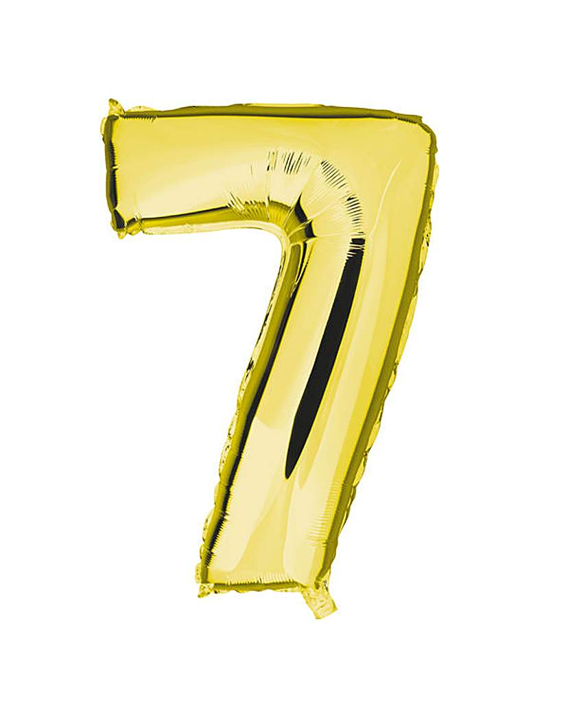 Image of 100cm Numeral Balloon Gold Number 7