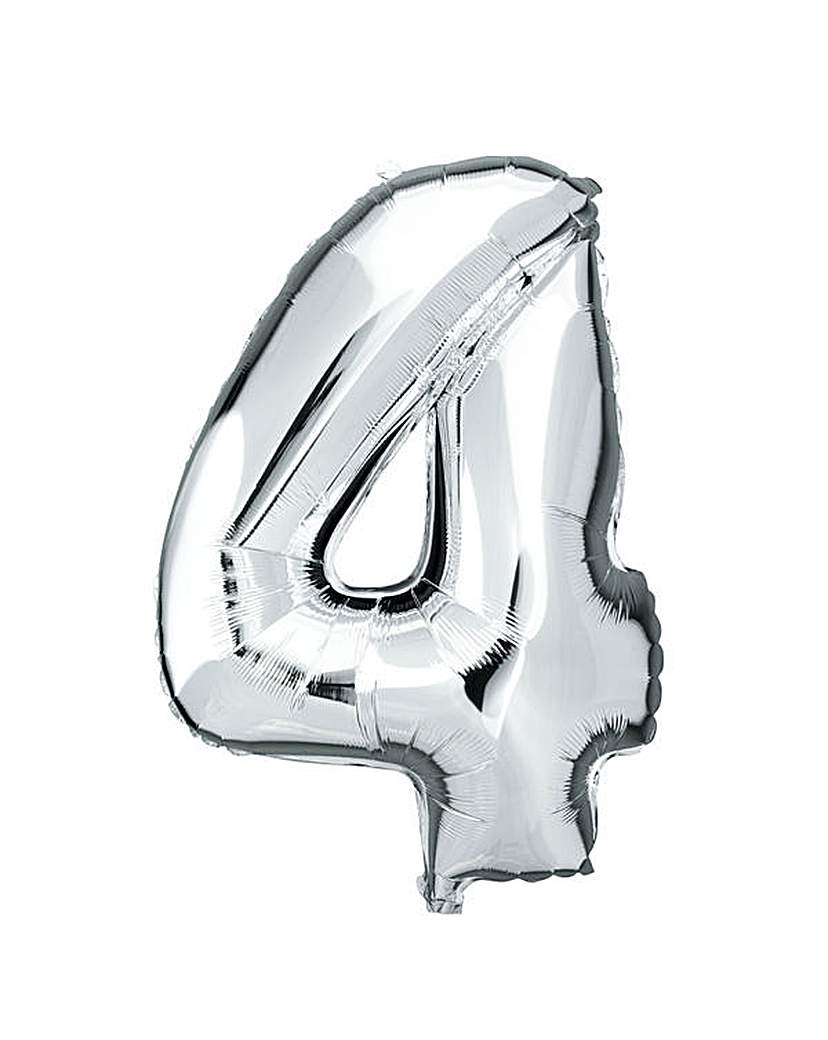 100cm Numeral Balloon Silver Number 4