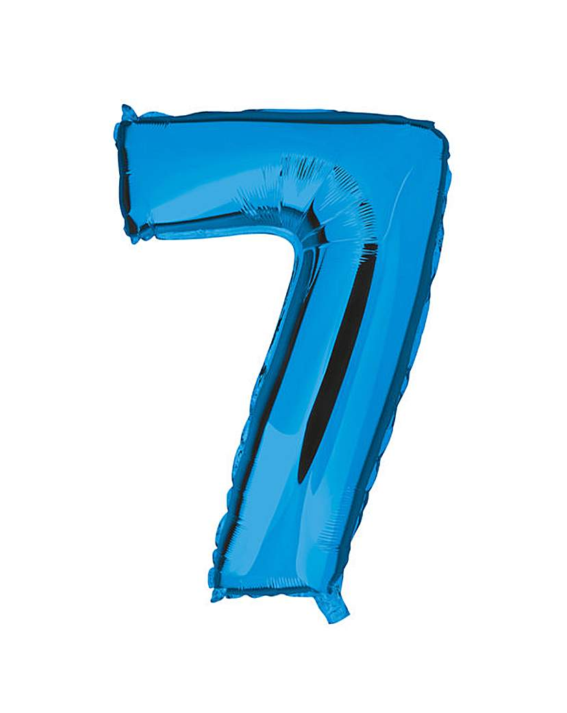 Image of 100cm Numeral Balloon Blue Number 7
