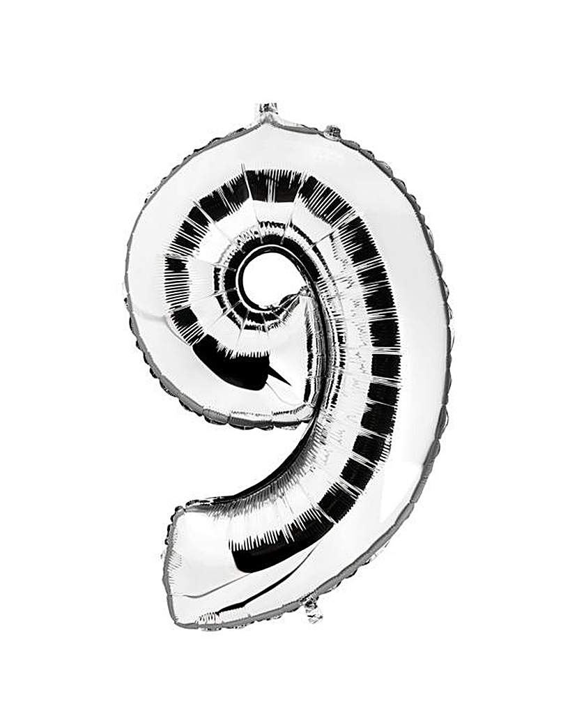 Image of 100cm Numeral Balloon Silver Number 9