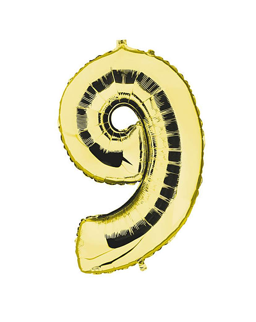 Image of 100cm Numeral Balloon Gold Number 9