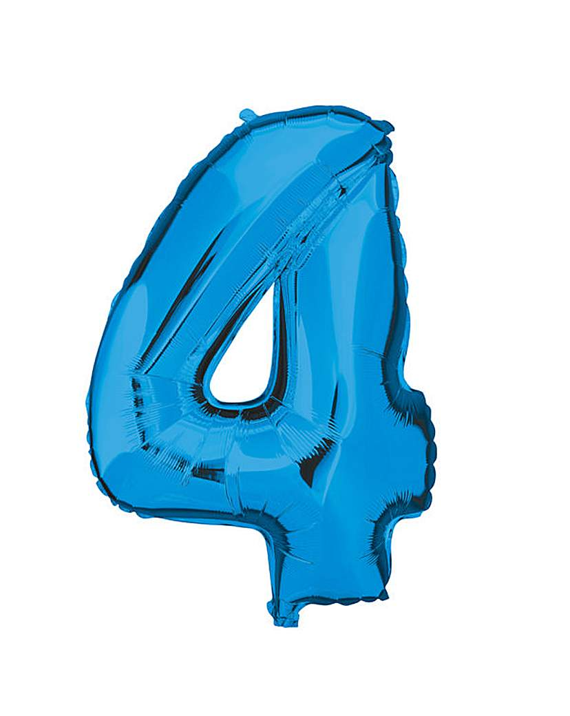 Image of 100cm Numeral Balloon Blue Number 4