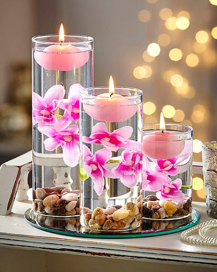 Image of Pink Floating Candle Set