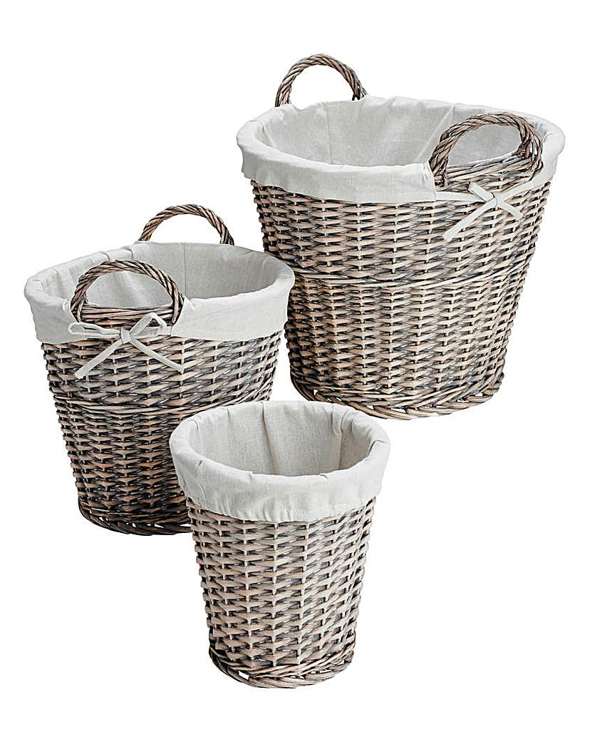 Image of Natural Willow Set of 3 Round Baskets