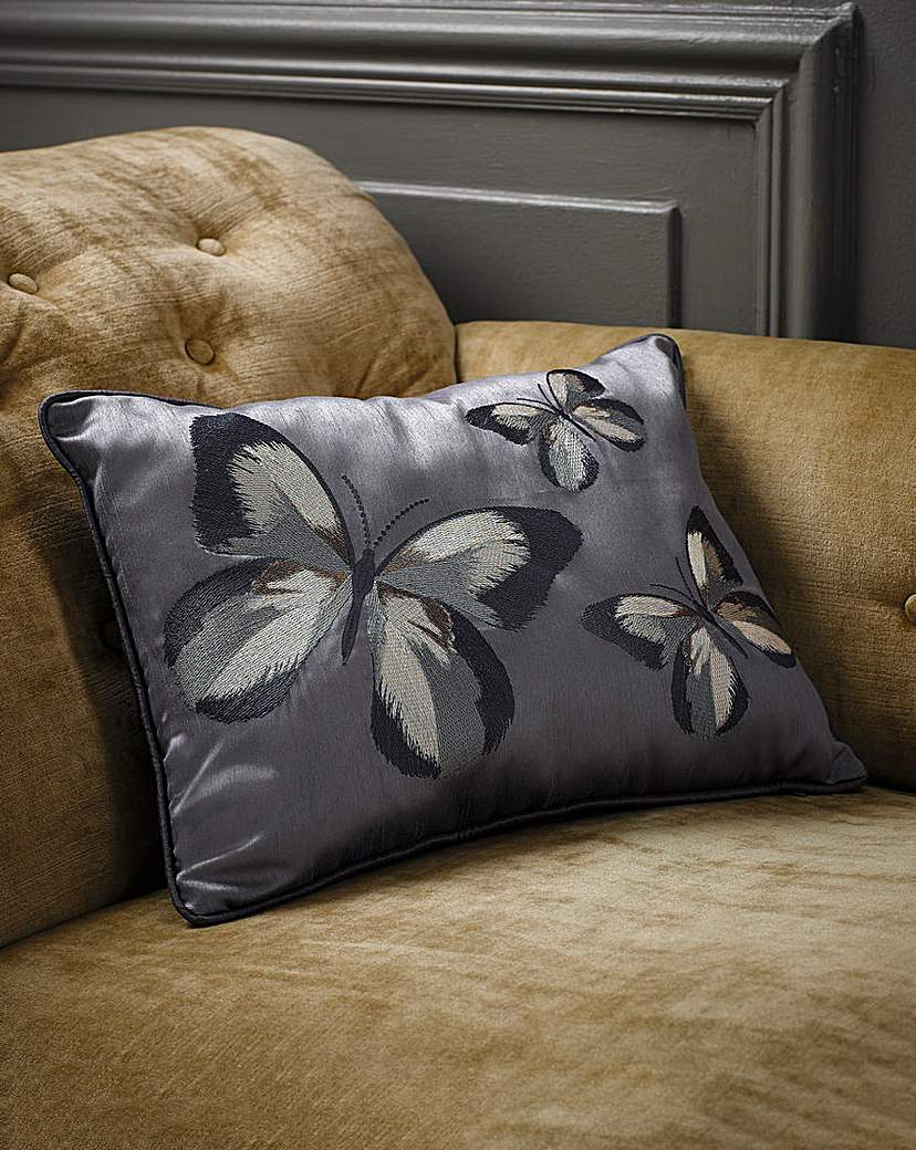 Image of Together Butterflies Embroidered Cushion