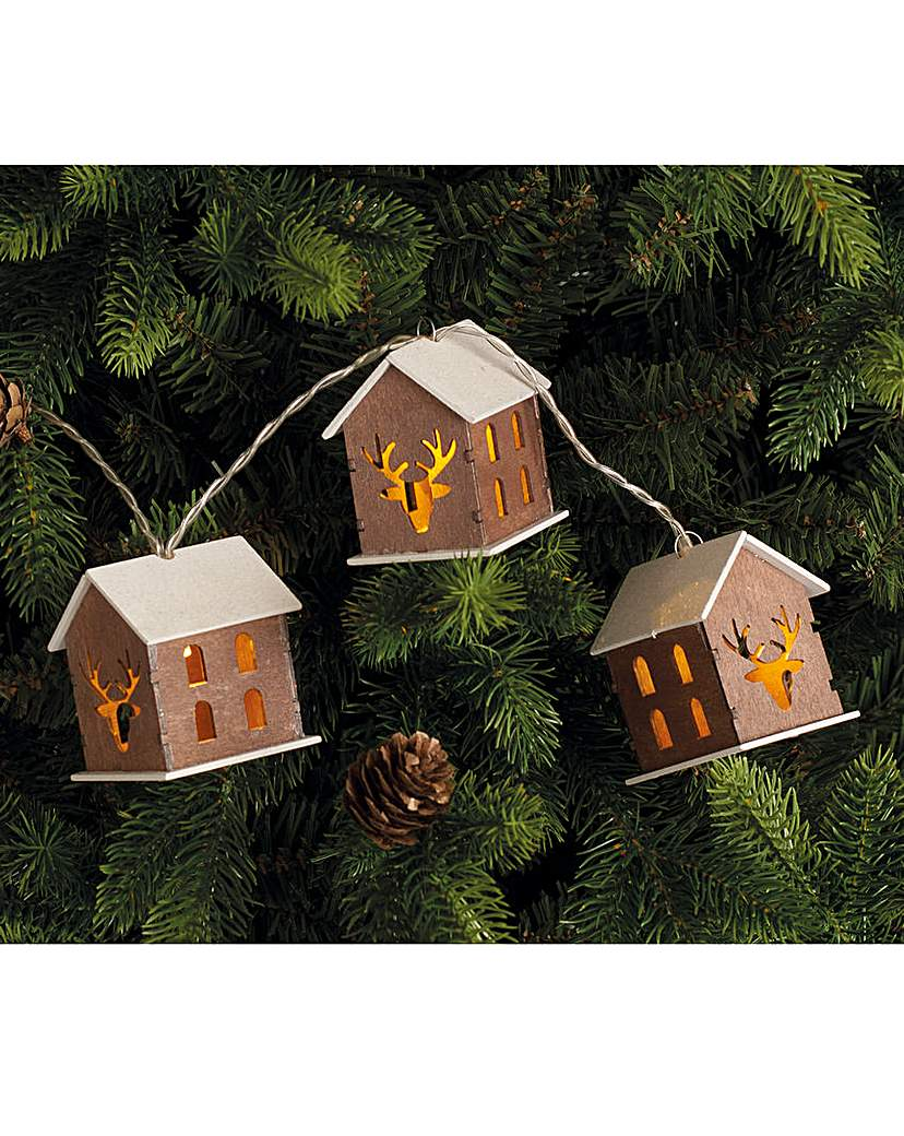 Wooden House String Lights