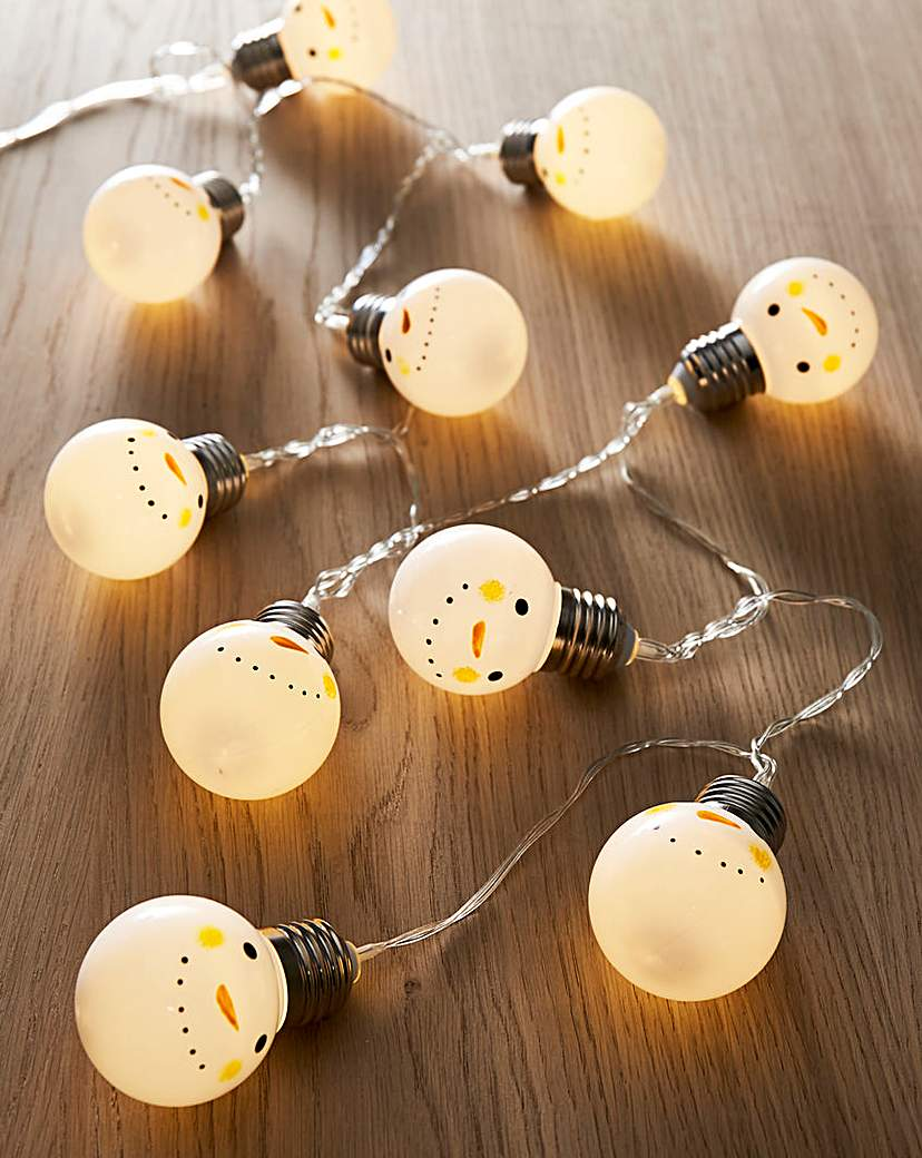 Snowman Battery Operated String Lights