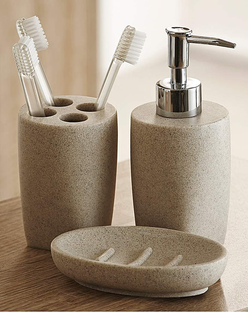 Stone Effect 3-Piece Bathroom Accessory