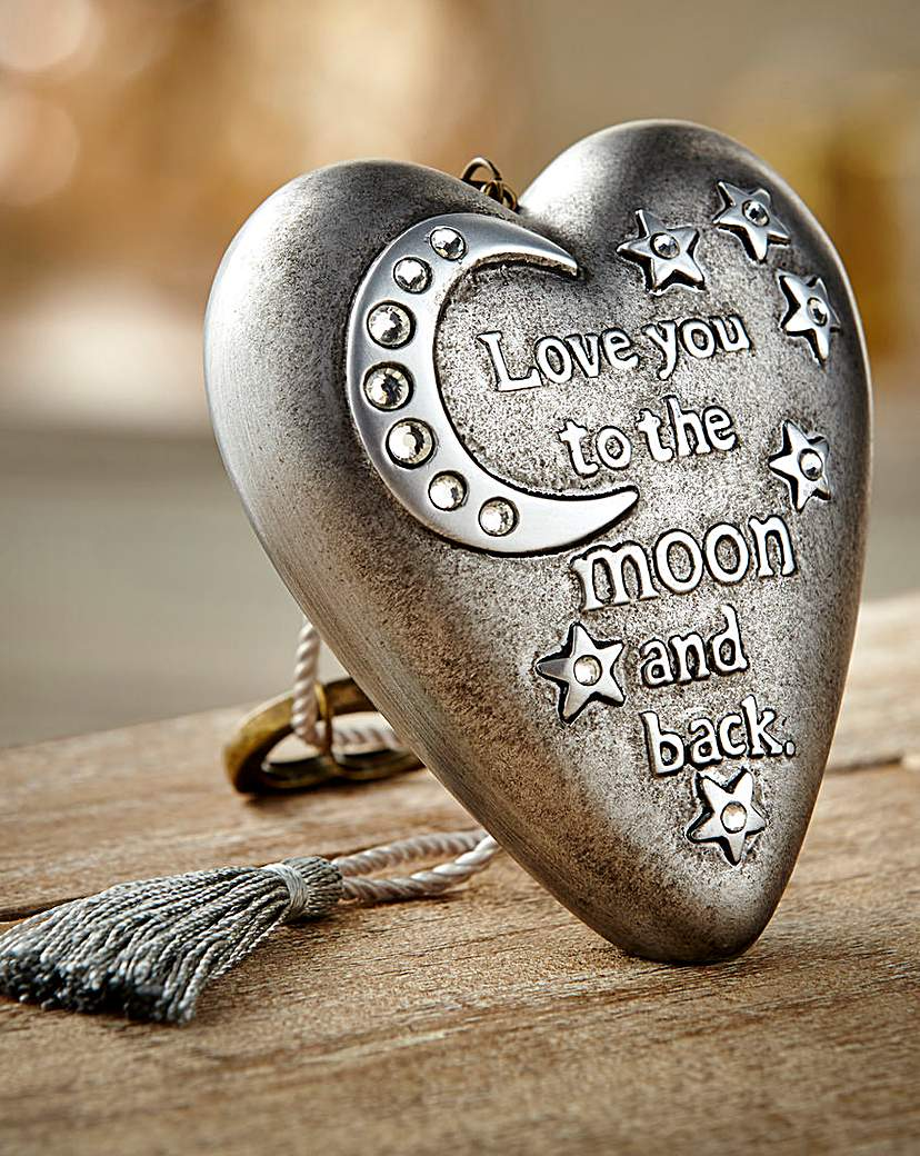 Image of To The Moon & Back Heart Art Ornament