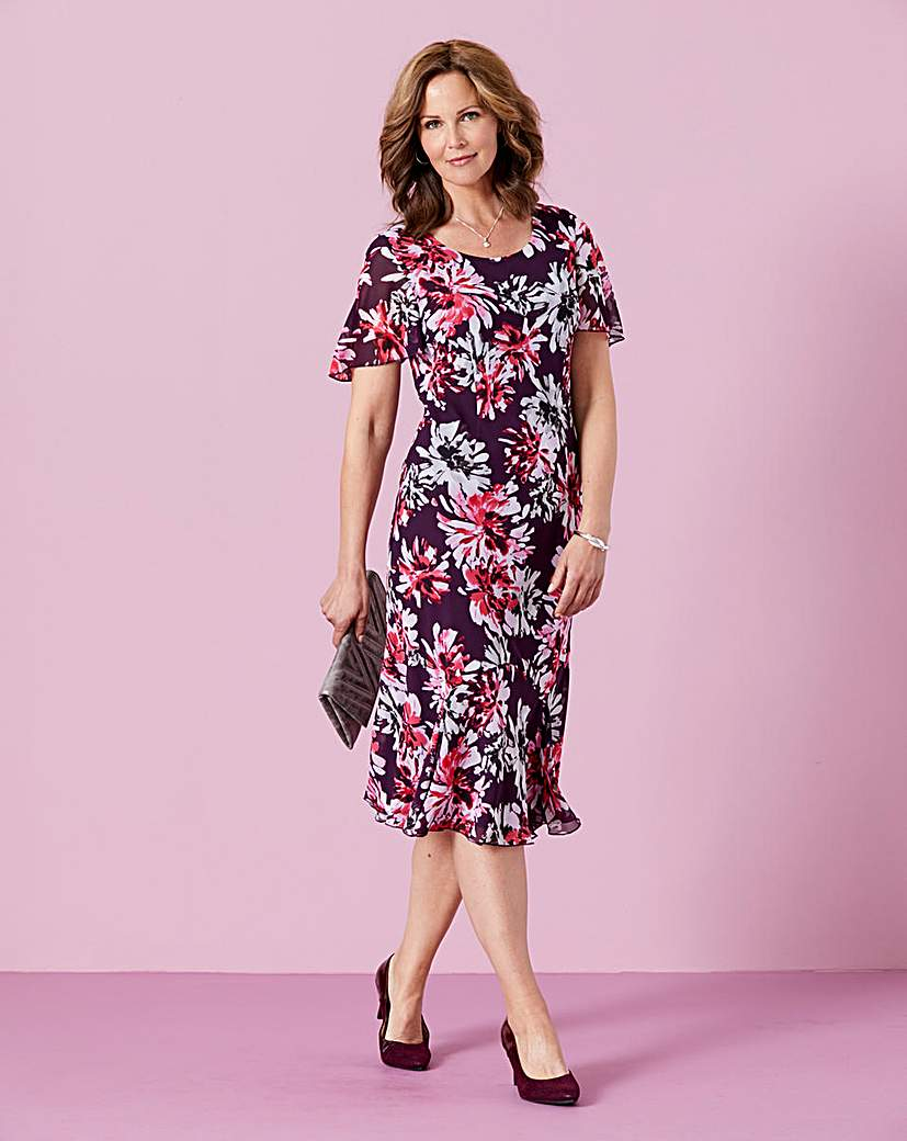 Bias Cut Chiffon Printed Dress L45in.