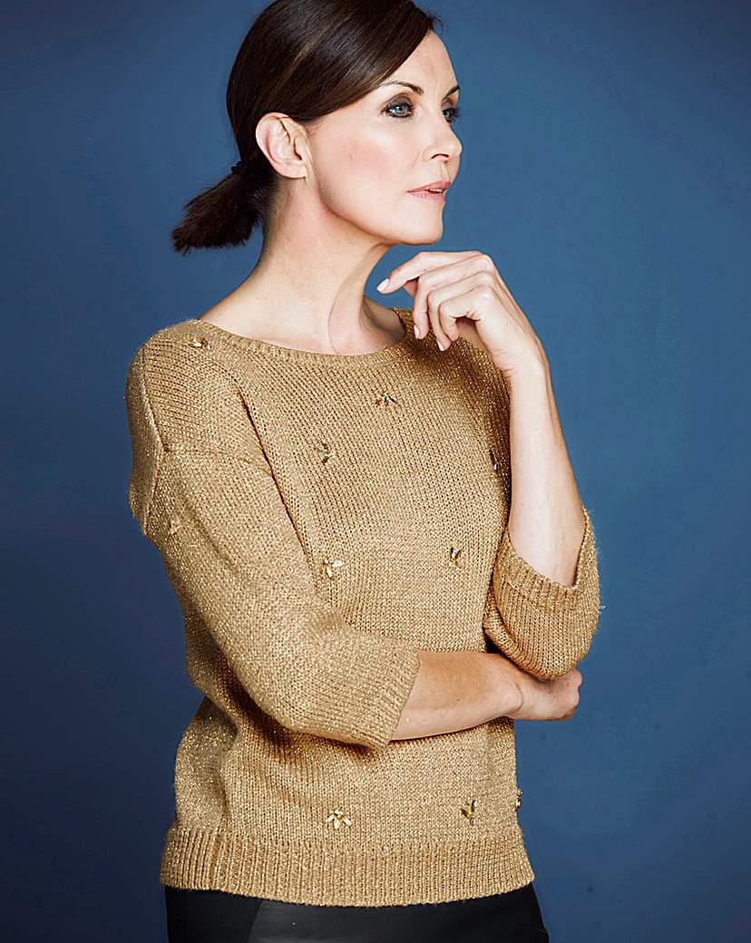 Vintage Sweaters: 1940s, 1950s, 1960s Pictures JOANNA HOPE Metallic Embellished Jumper £18.00 AT vintagedancer.com