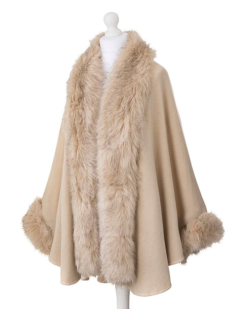 JOANNA HOPE Faux Fur Trim Shawl £69.00 AT vintagedancer.com