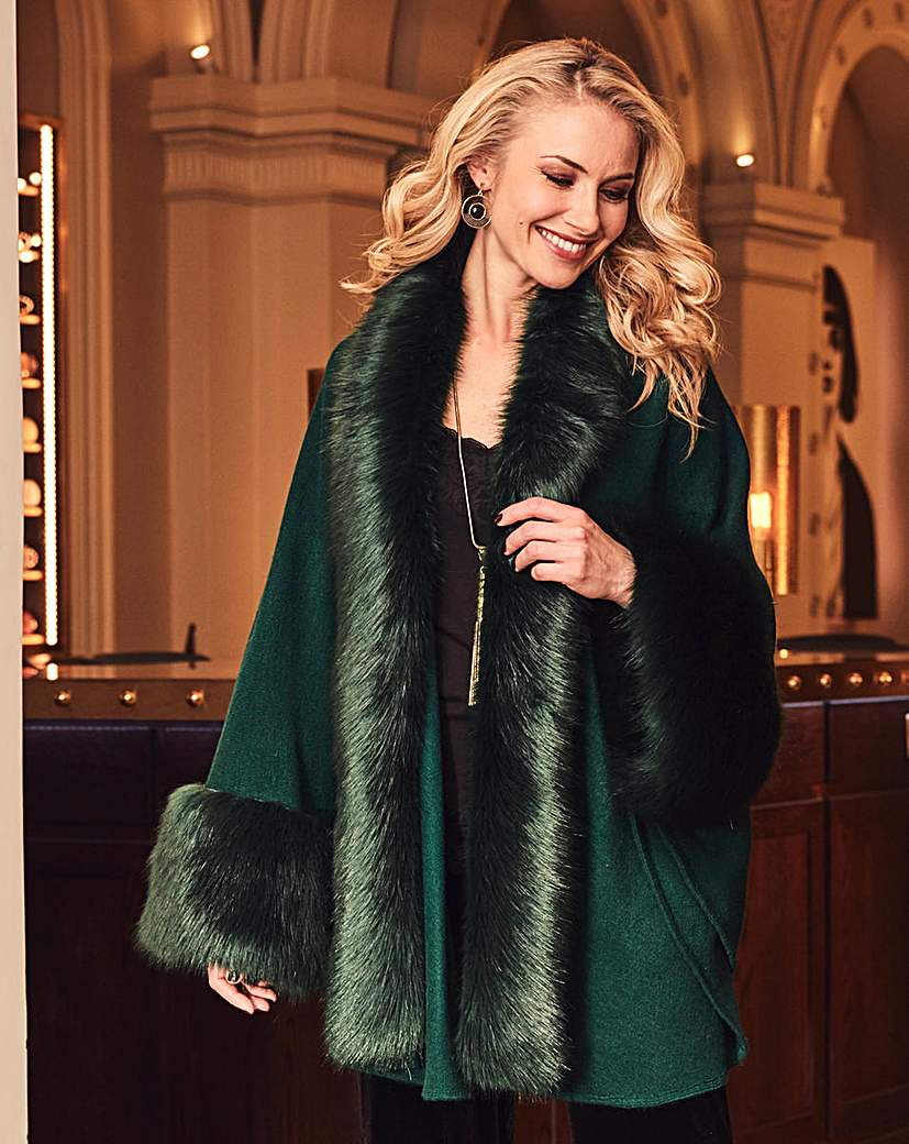 Retro Vintage Style Coats, Jackets, Fur Stoles JOANNA HOPE Faux-Fur Trim Cape £69.00 AT vintagedancer.com