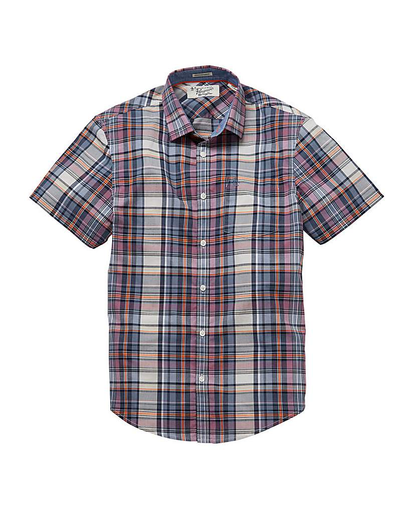 Image of Original Penguin Chek SS Shirt Regular