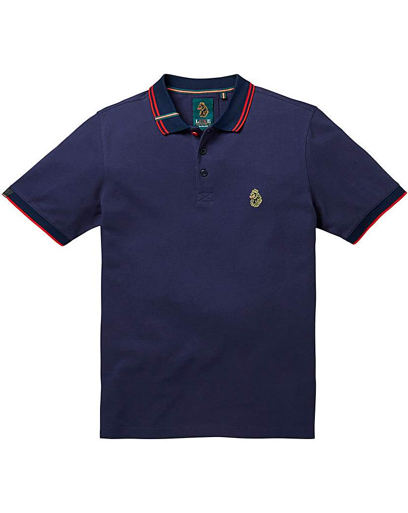 Image of Luke Sports Mead Pique Navy Polo Long