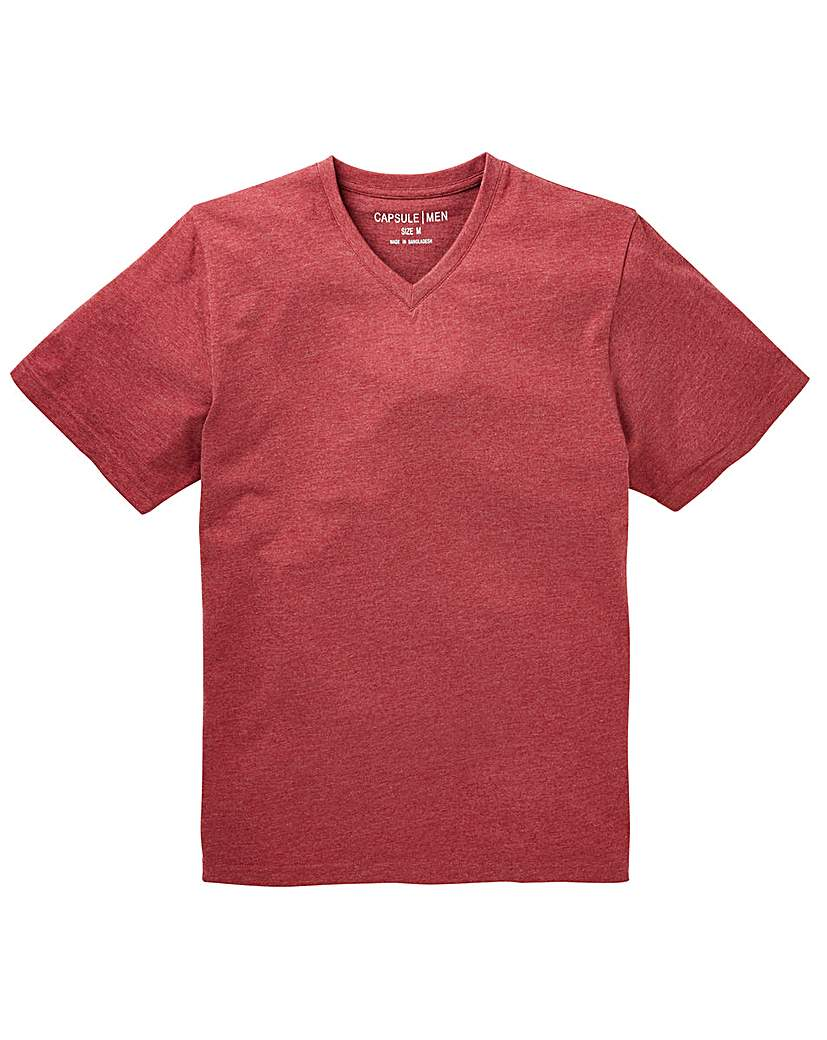 Capsule V-Neck Red Marl T-shirt Long