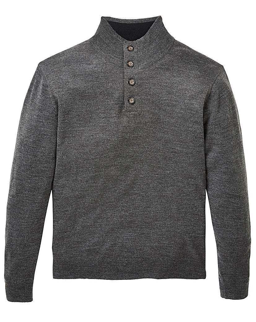 Image of Capsule Charcoal Button Neck Jumper