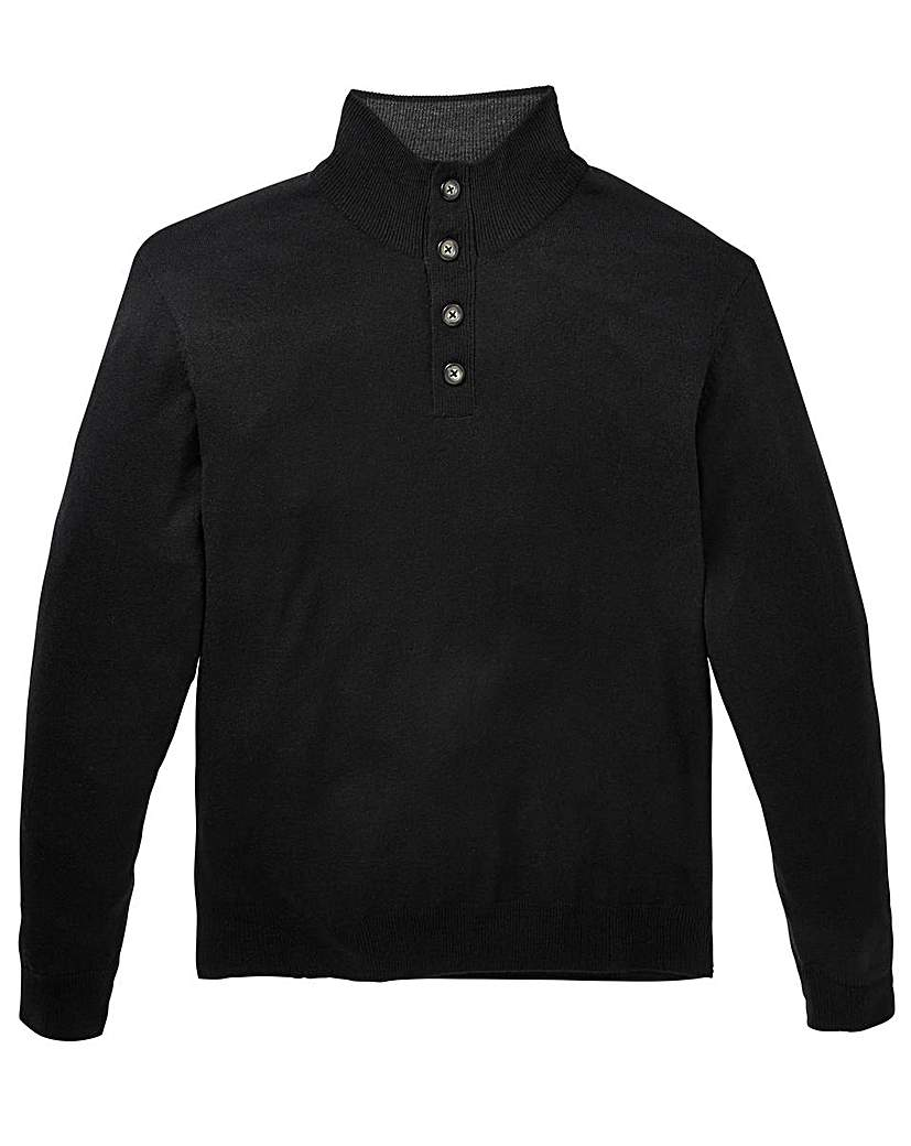 Image of Capsule Black Button Neck Jumper