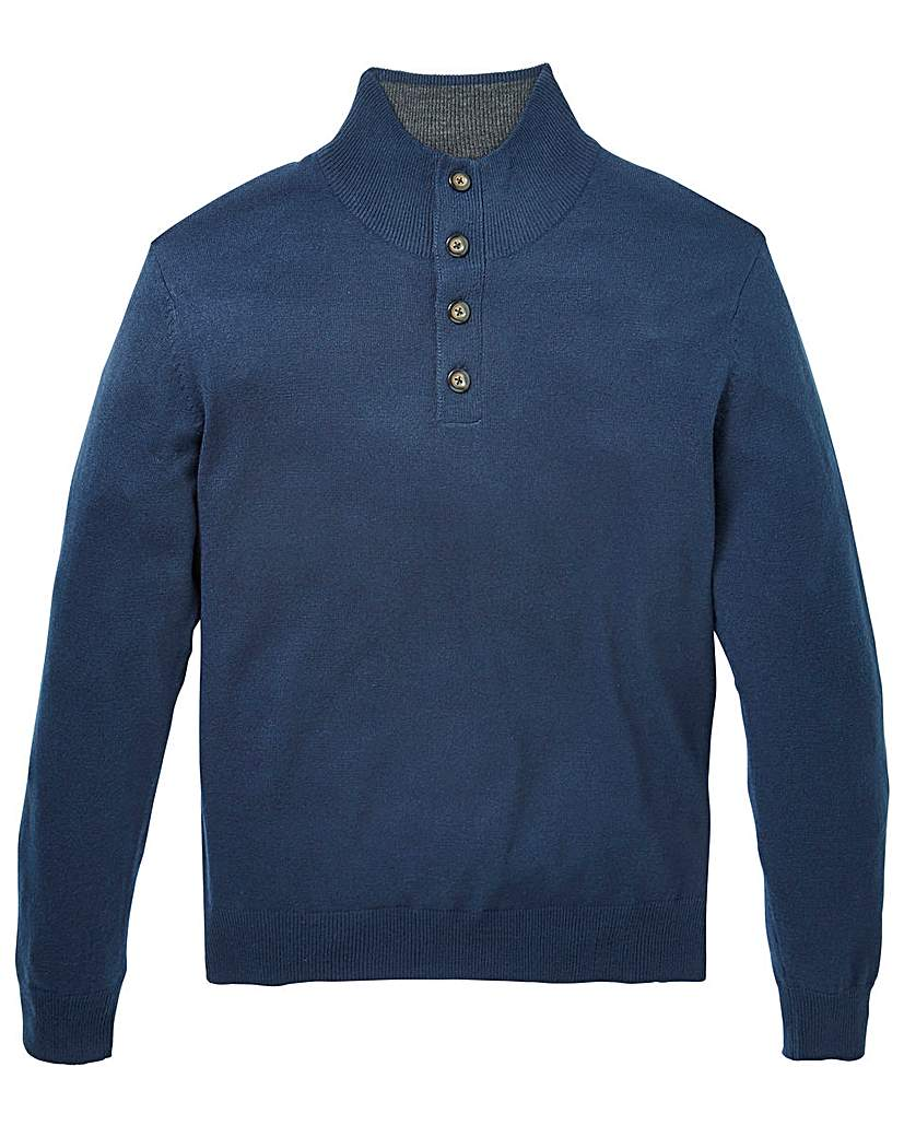 Image of Capsule Navy Button Neck Jumper