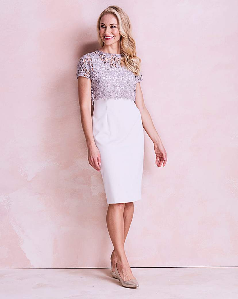 Image of Gina Bacconi Crepe Overlay Dress