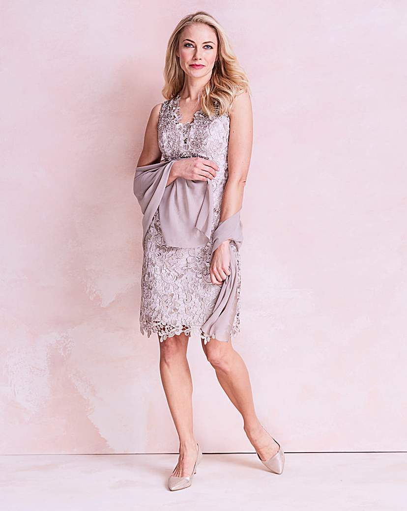 Image of Gina Bacconi Lace Dress with Scarf