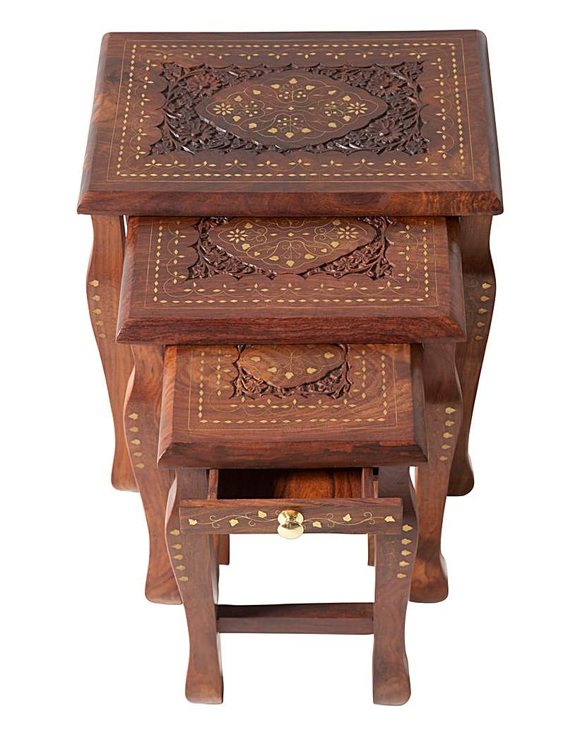 Goa Carved Solid Sheesham Nest of Tables
