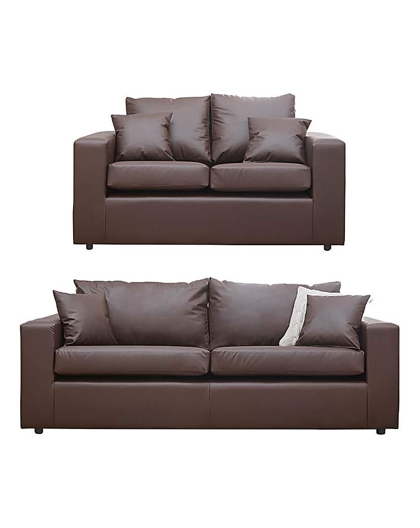 Faux Leather 3 plus 2 seater sofa