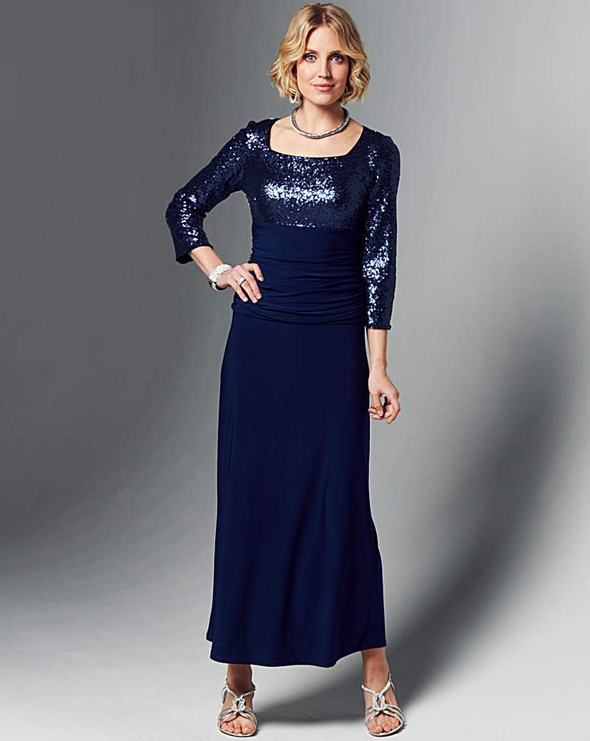 Nightingales Cowl Neck Sequin Dress