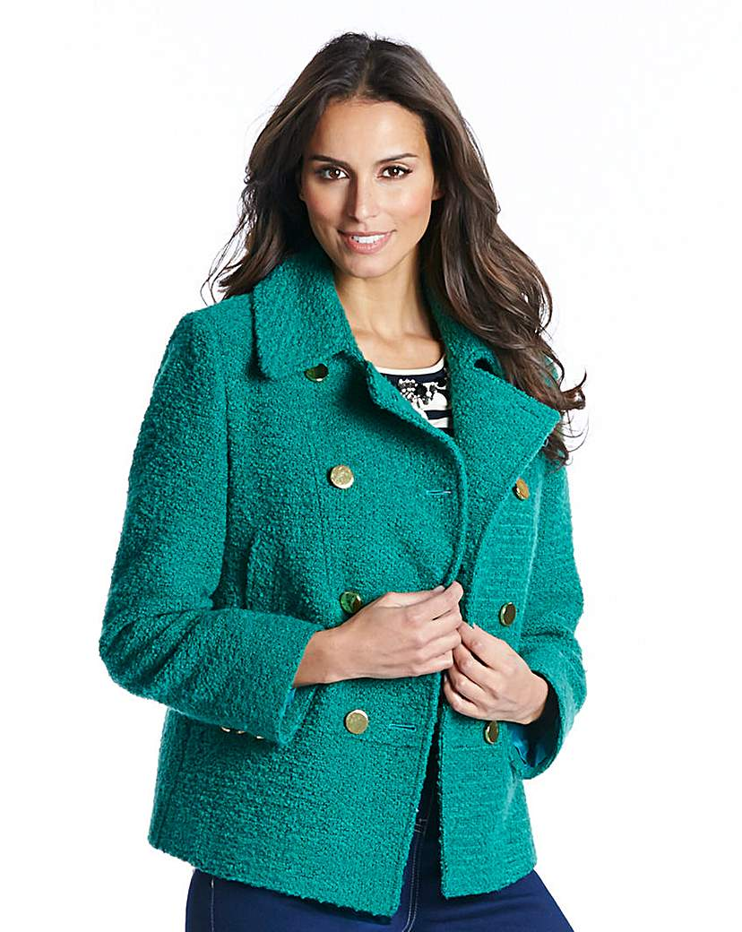Boucle Jacket With Contrast Buttons
