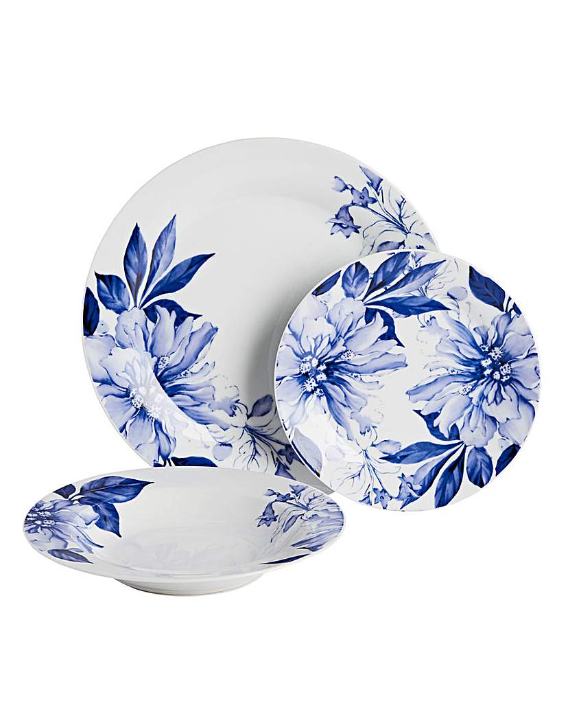 Image of 12pc Blue Floral Dinner Set