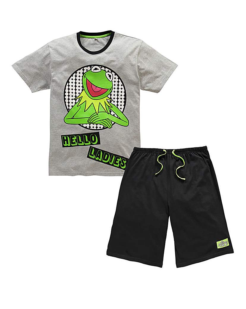Kermit Grey Black Short Pj Set