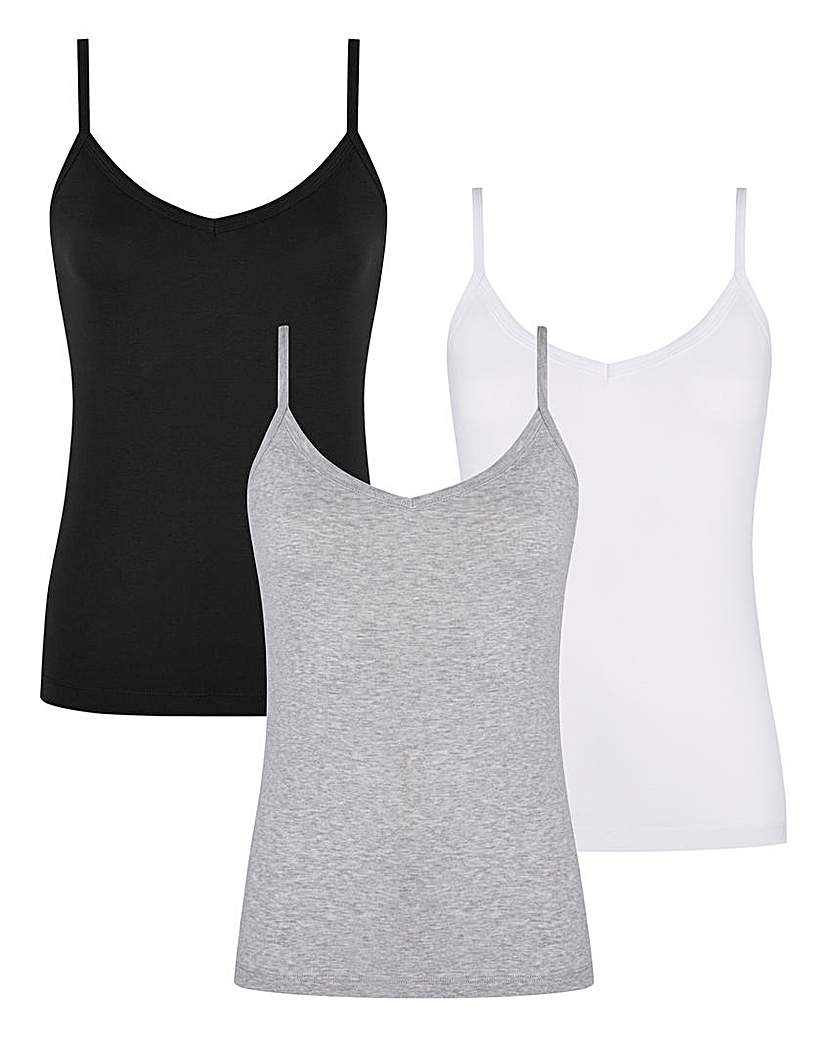 Black/ Grey/ White Pack of 3 Camisoles.