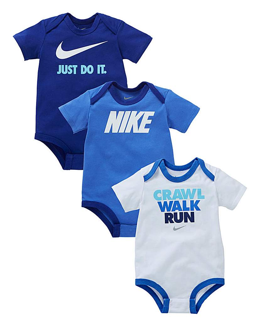 Image of Nike Baby Boys Pack Of Three Bodysuits