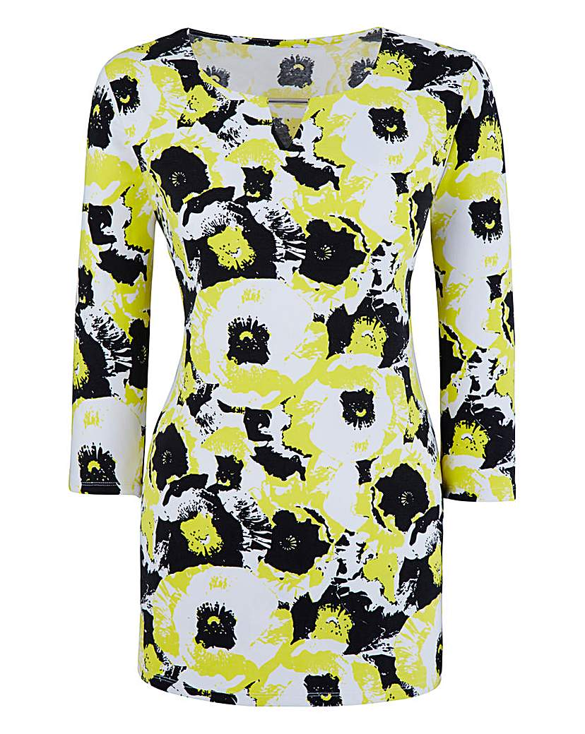 Lime Print Cut Out Jersey Top