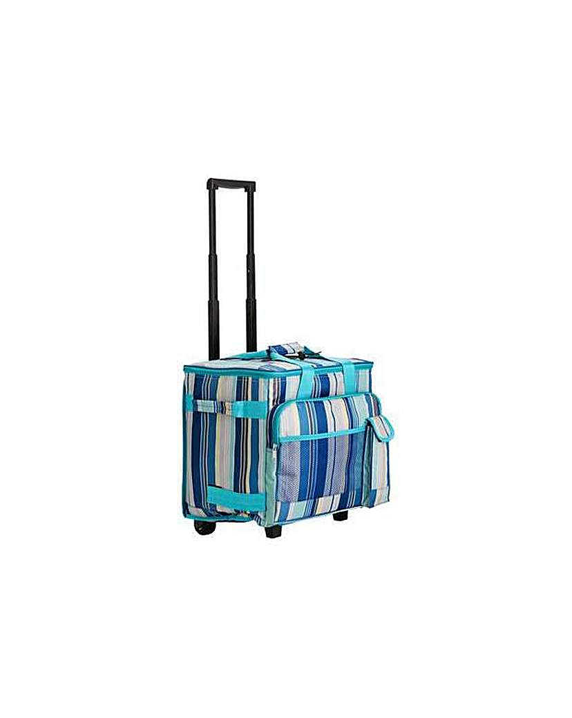 Blue Striped Picnic Cooler on Wheels.