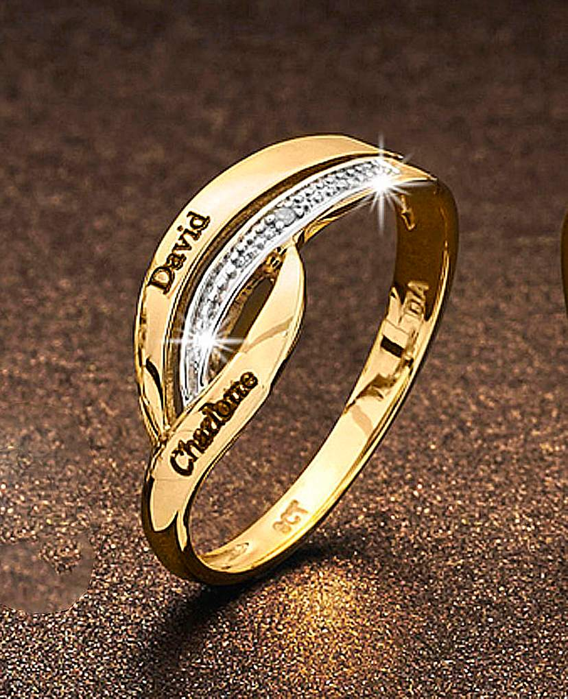 Precious Sentiments Gold Crossover Ring