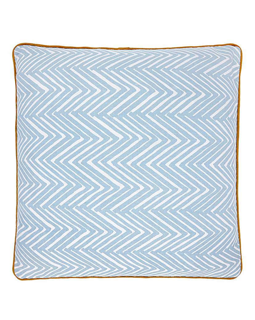 Image of Lorraine Kelly Blue Herringbone Cushion