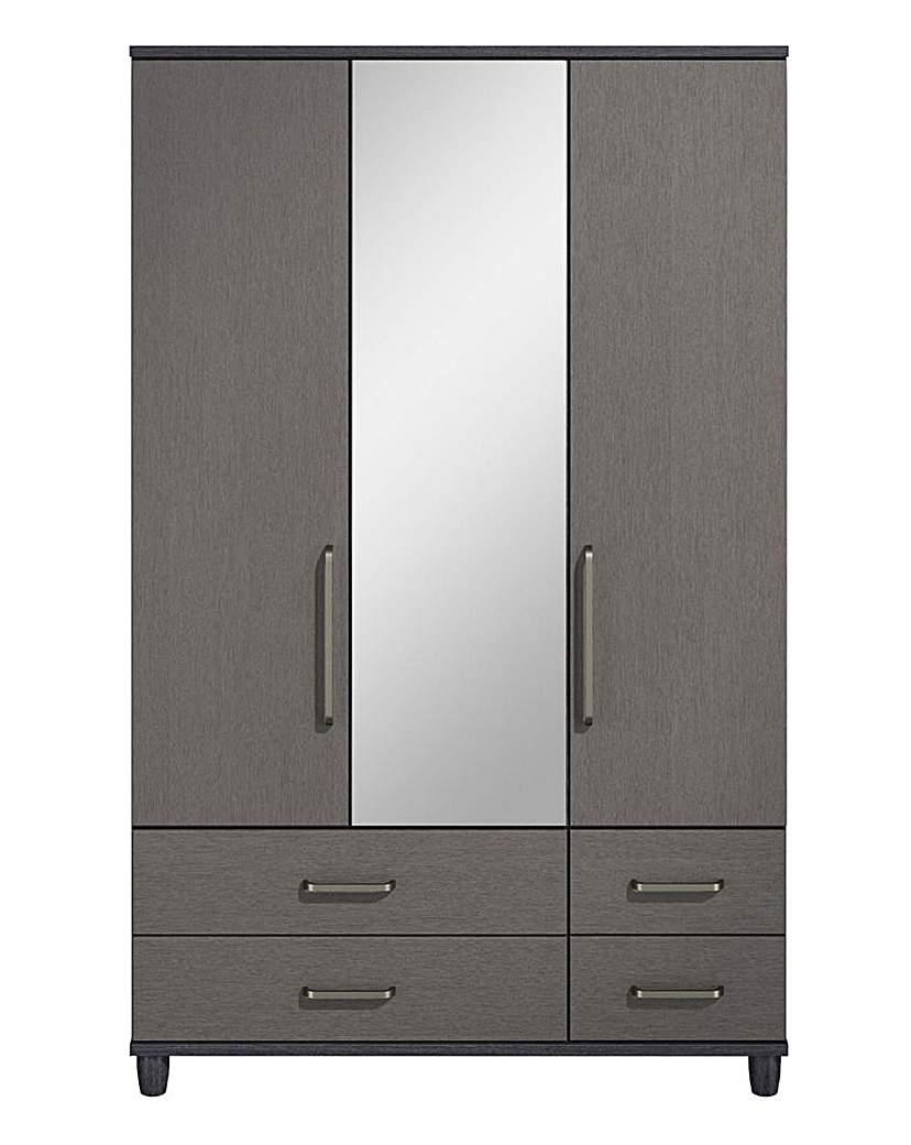 3 Door 4 Drawer Wardrobe with Mirror