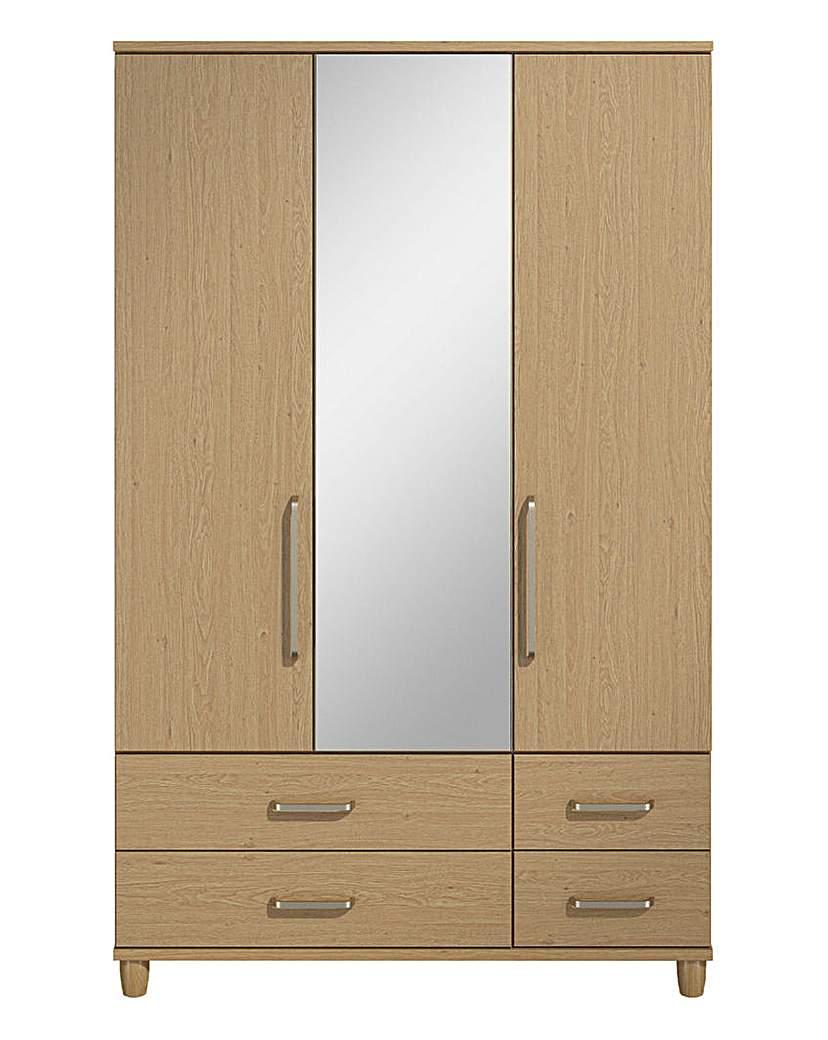 Image of 3 Door 4 Drawer Wardrobe with Mirror
