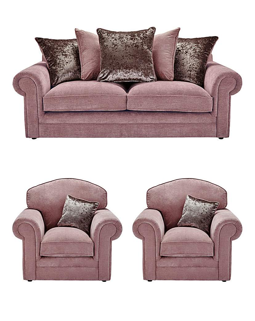 Image of Shimmer 3 Seater Sofa Plus 2 Chairs