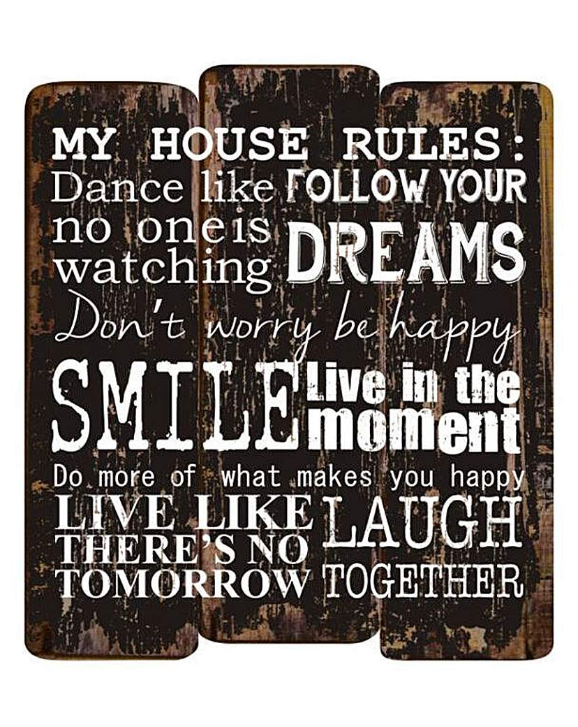 Wooden House Rules Wall Plaque