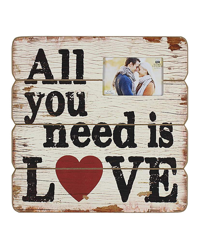 Image of All You Need Is Love Wooden Wall Plaque