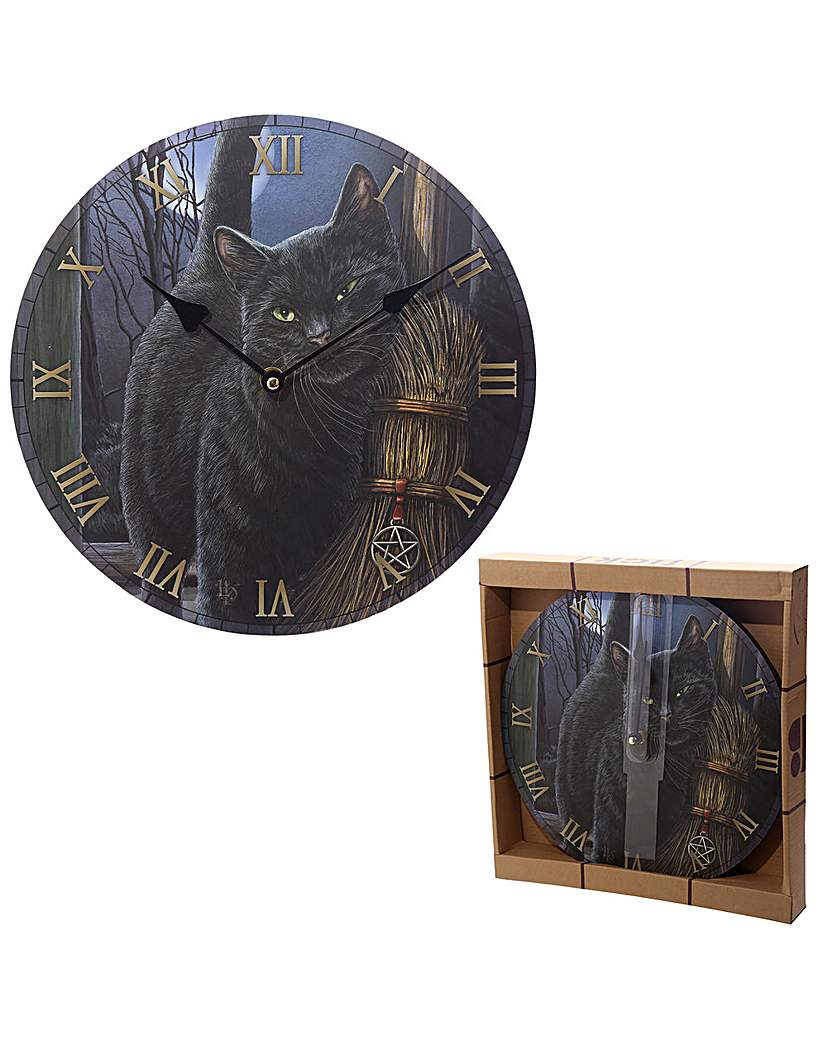 Image of Black Cat and Broomstick Wall Clock