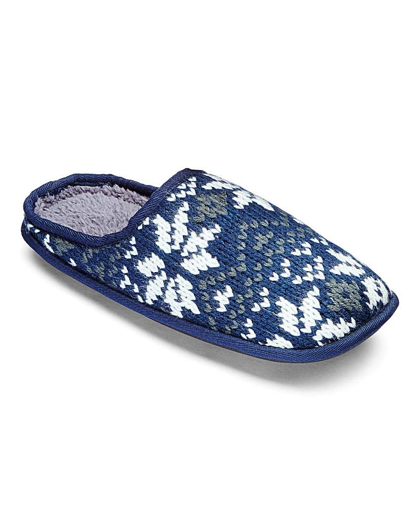 Trustyle Fairisle Knit Mule Slippers