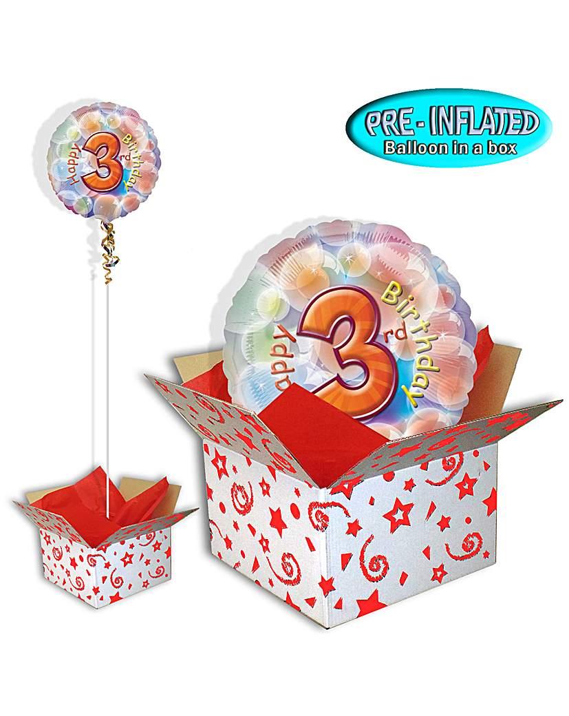 Happy 3rd Birthday Foil Balloon In A Box